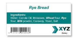 rye bread nutrition label
