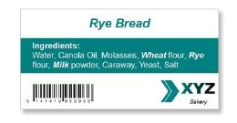 rye bread nutrition label